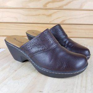 Bjorndal TEEGAN Brown Leather Slip-on Mule Clog Shoes 136285  Size 8
